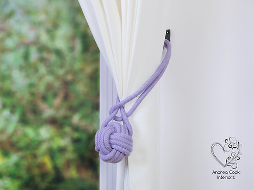 Large Heather Purple Monkey Fist Tie Back, Hold Back, Holdback, Tieback, Purple