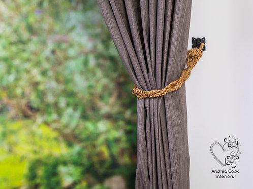 Slim Twisted Manila Rope Curtain Tiebacks
