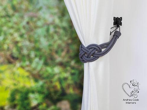 Large Slate Grey Cotton Cord Carrick Bend Knots