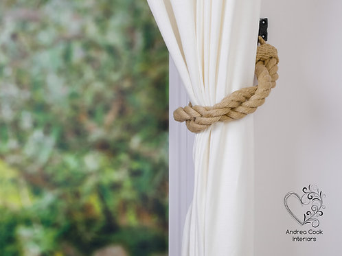 Chunky Beige Rope Twisted Curtain Tiebacks