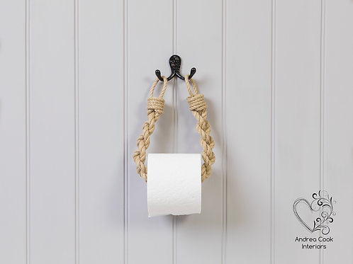 Chunky Braided Beige Rope Toilet Roll Holder - Toilet Paper Holder