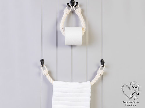 Set of Chunky Ivory White Rope Toilet Roll Holder and Towel Rail