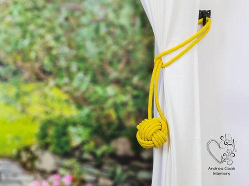 Large Daffodil Yellow Monkey Fist Tieback - Cotton Cord Tiebacks, Hold backs