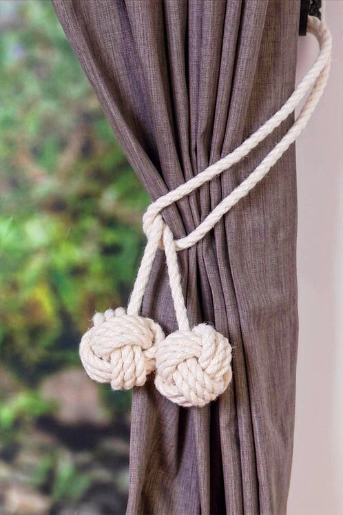 Medium Ivory White Cotton Rope Curtain Tiebacks - Rope Holdbacks