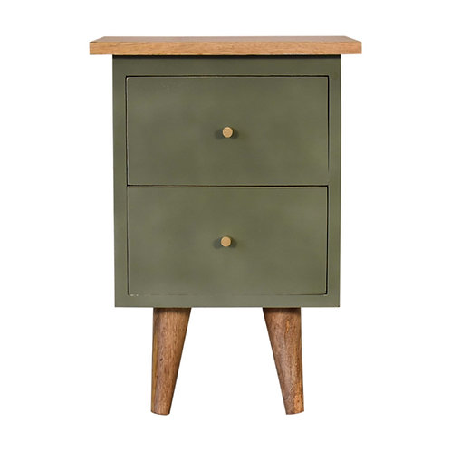 Olive Hand Painted Bedside Table