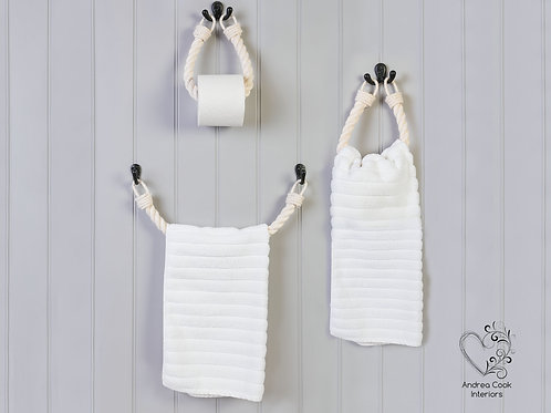 Full Set of Chunky White Toilet Roll Holder, Towel Rail and Towel Rail