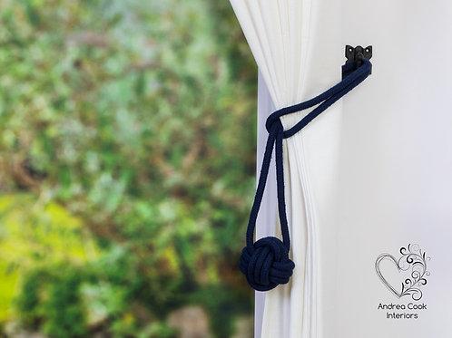 Medium Navy Blue Monkey Fist Tie Backs - Curtain Tiebacks