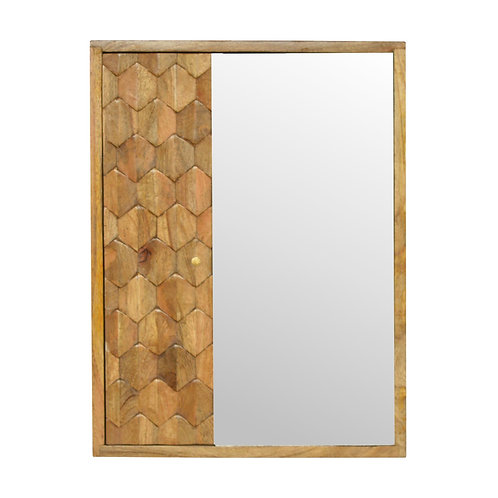 Pineapple Carved Sliding Wall Mirror Cabinet