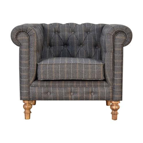 Pewter Tweed Chesterfield Armchair