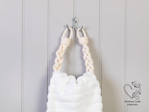 Ivory White Chunky Braided Rope Hand Towel Holder - Nautical Towel Rail