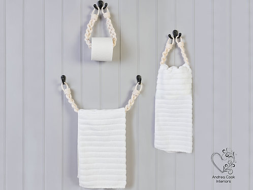 Full Set of Braided White Toilet Roll Holder, Towel Rail and Towel Rail