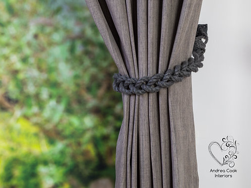 Chunky Charcoal Grey Braided Tiebacks -  Braided Curtain Tie Backs, Holdbacks