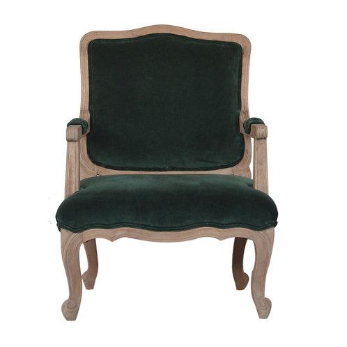 Emerald Green Velvet French Style Chair