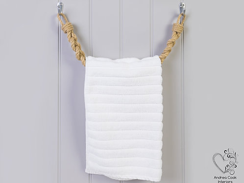 Chunky Braided Beige Rope Towel Rail - Rope Towel Holder