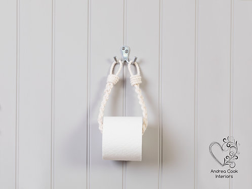 Slim Braided Ivory White Rope Toilet Roll Holder - Toilet Paper Holder
