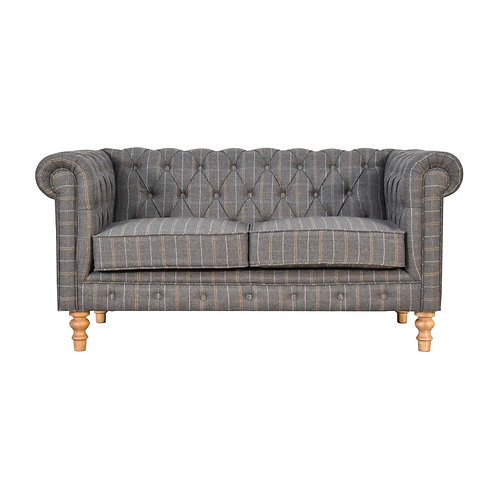 Pewter Tweed 2 Seater Chesterfield Sofa