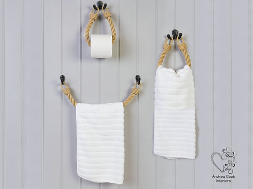 Full Set of Chunky Beige Rope Toilet Roll Holder, Towel Rail and Towel