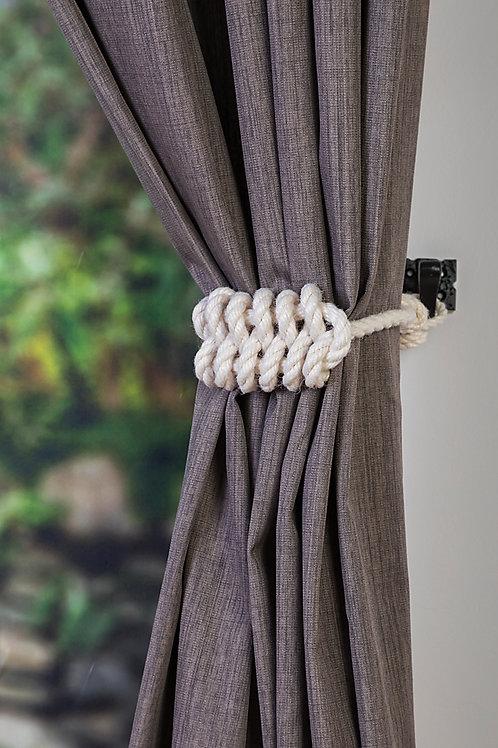 Ivory White Cotton Rope Knot Holdback - Nautical Curtain Tie Backs