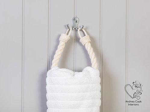 Chunky Ivory White Rope Hand Towel Holder - Nautical Towel Rail