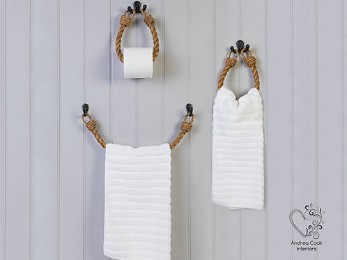 Full Set of Chunky Manila Rope Toilet Roll Holder, Towel Rail and Towel Holder