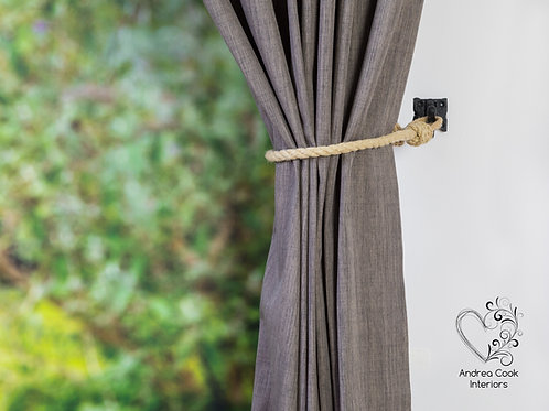 Slim Beige Rope Curtain Tie backs - Nautical Tiebacks, Curtain Holdback, Tieback