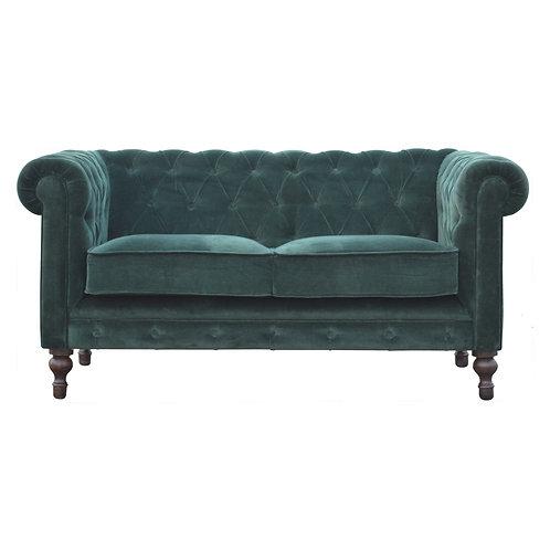Emerald Green Velvet Chesterfield 2 Seater Sofa