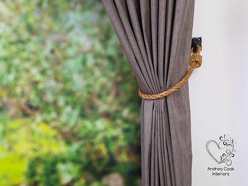 Slim 0.55 inch/1.4 cm Manila Rope Curtain Tie Backs - Nautical Hold backs