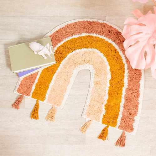 Earth Rainbow Rug with Tassels