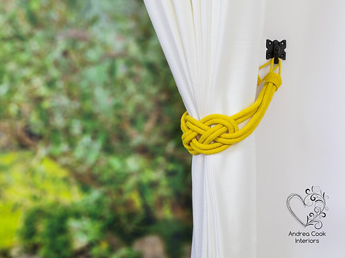 Daffodil Yellow Cotton Cord Carrick Bend Knot, Tie Back, Tiebacks, Hold Back