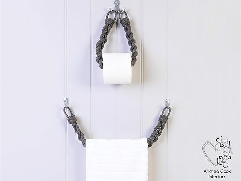 Set of Chunky Braided Charcoal Grey Rope Toilet Roll Holder and Towel Rail