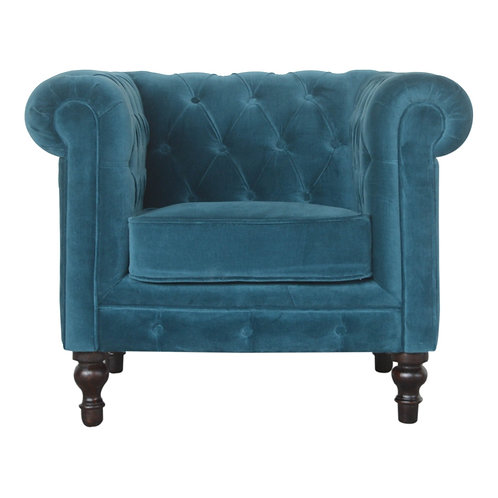 Teal Velvet Chesterfield Armchair
