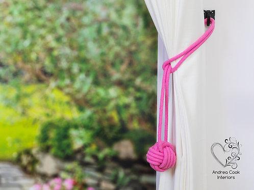 Large Rose Pink Monkey Fist Tieback - Cotton Cord Tiebacks, Tie back Hold back