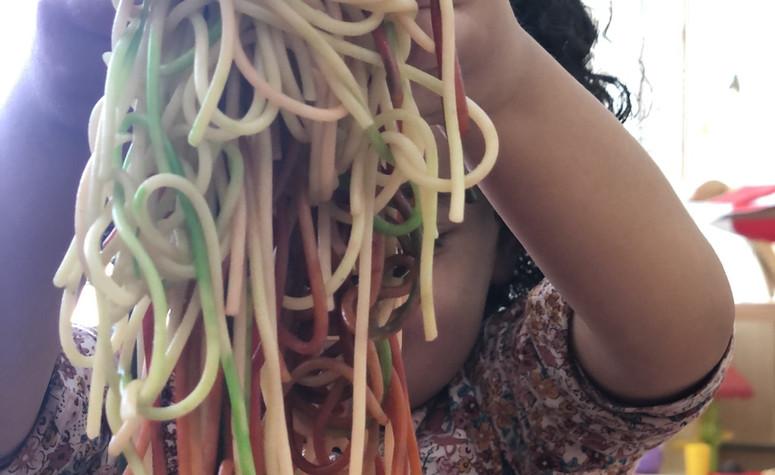 Sensory play with Pasta