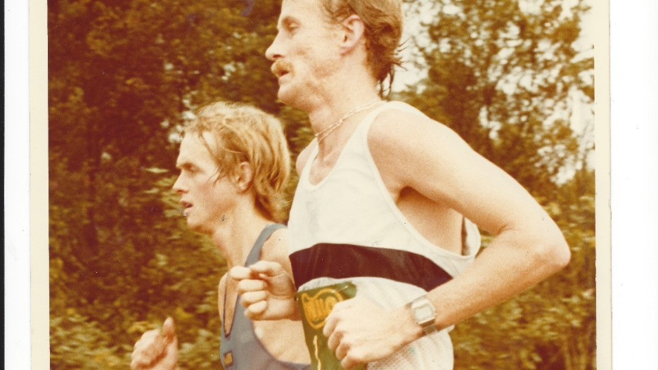 Bruce Fordyce and Alan Robb, shoulder to shoulder trying to win the 1982 Comrades Marathon down run.