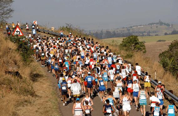 Inchanga Hill teeming with Comrades Marathon runners, most of whom are shuffling, says Bruce Fordyce, 9 x Comrades Marathon winner.