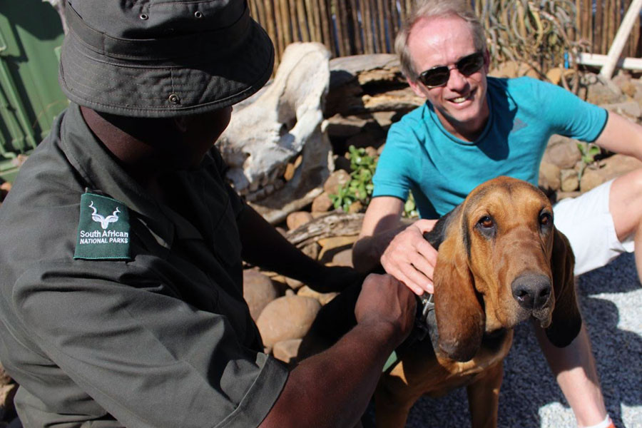 Bruce Fordyce with Kruger Park K9 tracker of rhino poachers
