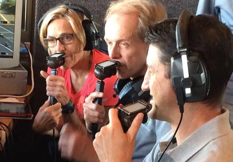 Bruce Fordyce commentating at 2016 Comrades Marathon for SABC, with Helen Lucre and Arnaud Malherbe.