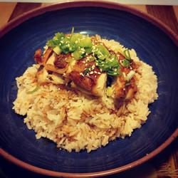 Crispy Chicken Thigh over Aromatic Chicken Rice
