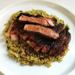 Sirloin Steak with Chicken Rice