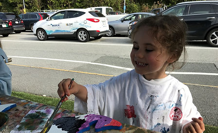 Little girl painting while waiting for BC Ferries sailing.