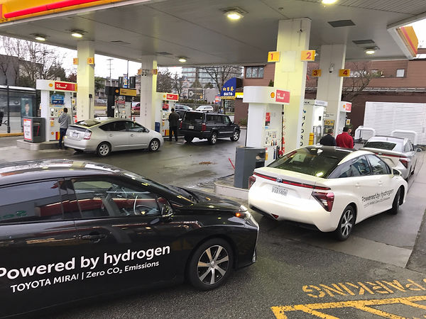 A lineup of Toyota Mirai fuel cell electric vehicles at HTEC's South Granville H2 fueling station in Vancouver