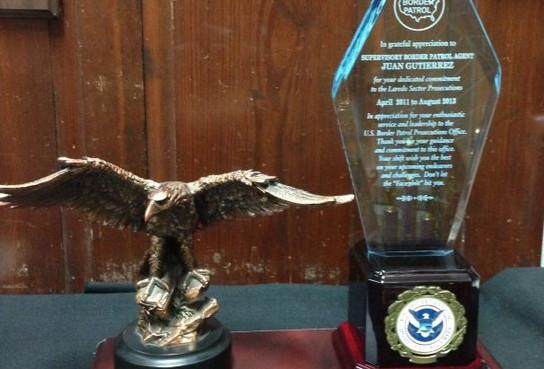 Bronze Eagle with Blue Acrylic, mounted on wood base
