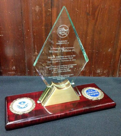 Glass Spear Award on Wood Base