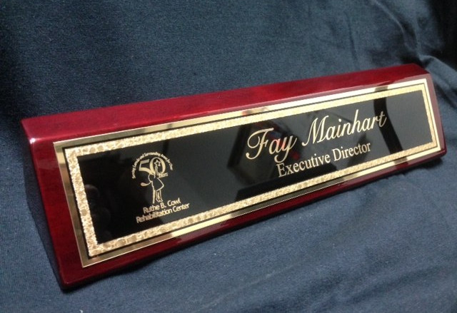 2x10 Piano finish Desk Plate, Black with Gold trim plate & gold lettering