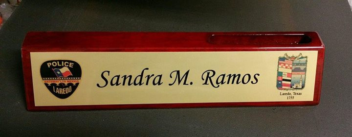 Piano Finish Desk Plate with slot on top for business cards