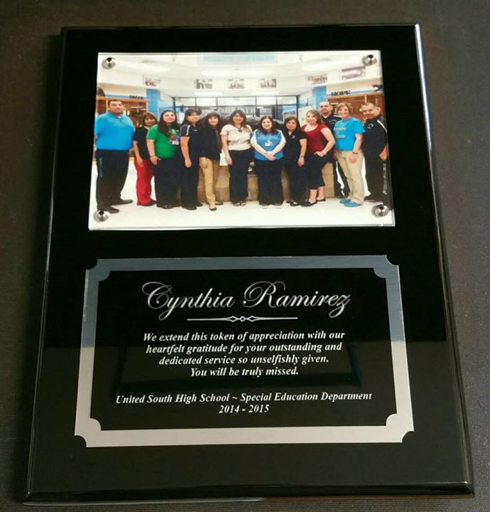 8x10 Black Piano Finish Plaque with mounted photo