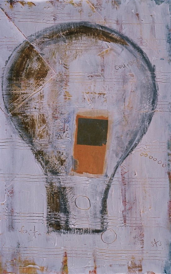 "Fortune and Courage, mixed media on paper, 19""x15"" 2005, Stuart Sheldon"