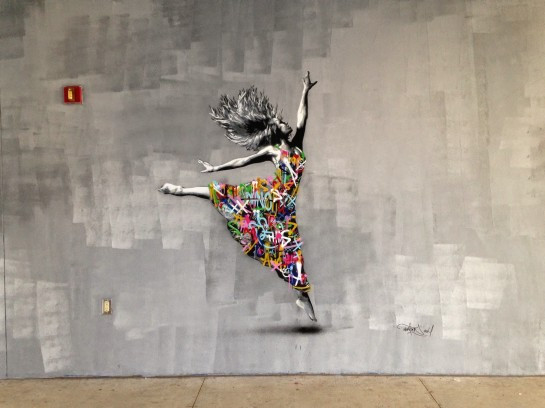 "Whimsical Norwegian artist Martin Whatson brought two new stencil works, including this interior piece called ""Dancer"" to the Raw Project at the Jose De Diego Middle School."