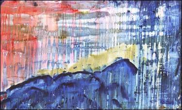 "Dusk Falls on Dan's Delicious, acrylic on canvas, 30"" x 48"", 2002, Stuart Sheldon"