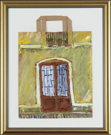 "Barceloneta Doorway, acrylic on a paper bag, 16""x12"", 2002, Stuart Sheldon"